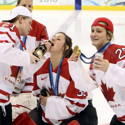Gold medal women's Olympic hockey game between team Canada and team USA  February 25